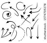 vector hand drawn arrows mark... | Shutterstock .eps vector #1574705278