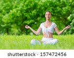 woman with closed eyes sits in...   Shutterstock . vector #157472456