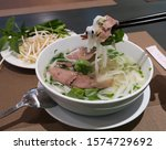 Traditional Vietnamese noodle soups (Pho Bo) in local restaurant. Pho was listed on World 50 Most Delicious Foods compiled by CNN Go.