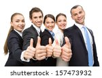 Group Of Thumbing Up Business...