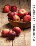 fresh organic apples in bowl on ...   Shutterstock . vector #157480418