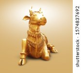 Decorative Golden Metal or Clay Cow Statue Sitting on Floor