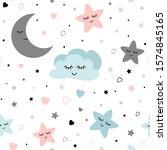seamless cute children pattern... | Shutterstock . vector #1574845165