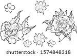 peony flower vector for tattoo... | Shutterstock .eps vector #1574848318