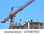 building crane and building... | Shutterstock . vector #157487402