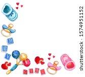 watercolor baby boy and girl... | Shutterstock . vector #1574951152