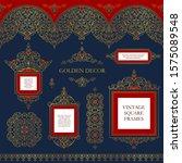 vector set of line art frames... | Shutterstock .eps vector #1575089548