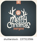retro vintage merry christmas... | Shutterstock .eps vector #157513586