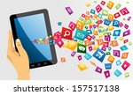 human hand holds electronic... | Shutterstock .eps vector #157517138