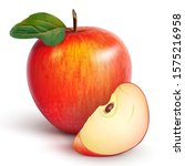 red juicy apple with a green... | Shutterstock .eps vector #1575216958