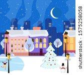 Night Winter City With Lanterns ...
