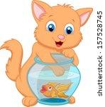 Kitten Fishing For Gold Fish In ...