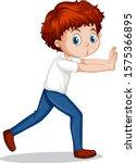 boy pushing wall on white... | Shutterstock .eps vector #1575366895