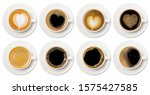 Small photo of coffee cup assortment top view collection, coffee cup assortment with heart sign top view collection isolated on white background.