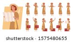 tourist woman with luggage... | Shutterstock .eps vector #1575480655