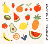 fresh tropical fruit vector... | Shutterstock . vector #1575500905
