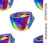 seamless pattern mug with tea... | Shutterstock . vector #1575597058