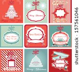 christmas cards set in vintage... | Shutterstock .eps vector #157561046