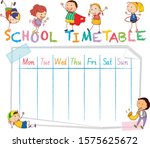 school time table with doodle...   Shutterstock .eps vector #1575625672
