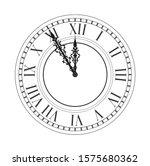Vintage Clock. Vector Antique...