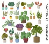 set of house plants on a white... | Shutterstock .eps vector #1575686992