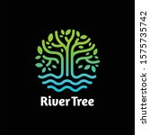 River Tree Eco Logo Line Art....