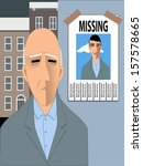 old man missing his youth. sad... | Shutterstock .eps vector #157578665