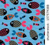 seamless pattern with cute fish | Shutterstock .eps vector #157579388