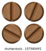 wooden heads screws isolated on ... | Shutterstock . vector #157580492