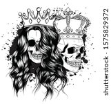 tattoo of king and queen of...   Shutterstock .eps vector #1575829372