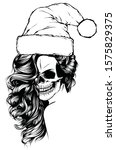 woman skull of bad santa claus... | Shutterstock .eps vector #1575829375