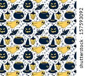 halloween pattern with lantern  ... | Shutterstock . vector #157593092