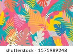 colorful flowers and leaves... | Shutterstock .eps vector #1575989248
