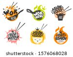 wok asian food logo  wok pan ... | Shutterstock .eps vector #1576068028