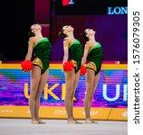 Small photo of BAKU, AZERBAIJAN -16-22 SEPTEMBER, 2019: 37th FIG Rhythmic Gymnastics World Championships, Group Finals, 5 balls. Ukraine