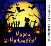 happy halloween card with full... | Shutterstock . vector #157610732