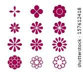set of vectorized flowers | Shutterstock .eps vector #157612418