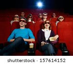 group of people in 3d glasses... | Shutterstock . vector #157614152