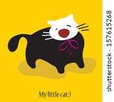 little cat. vector card | Shutterstock .eps vector #157615268