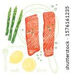 watercolor style trendy recipe... | Shutterstock .eps vector #1576161235