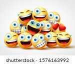 emoji faces group vector design.... | Shutterstock .eps vector #1576163992
