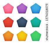 colorful pentagon buttons set....