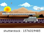 car drives on the road  train... | Shutterstock .eps vector #1576319485