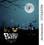 halloween party scary design... | Shutterstock .eps vector #157632596