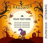 halloween vector card with cat. ... | Shutterstock .eps vector #157636442
