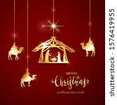 christian christmas theme.... | Shutterstock .eps vector #1576419955