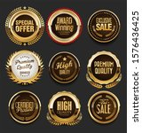 collection of golden flat... | Shutterstock . vector #1576436425