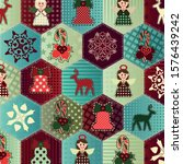 Christmas Vector Patchwork Wit...