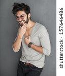 sexy fashion man with beard... | Shutterstock . vector #157646486