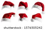 Santa claus hat set isolated...